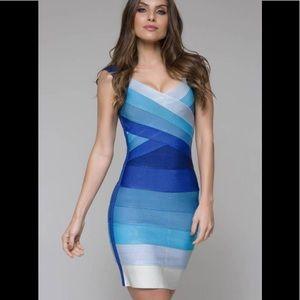 Aritzia Harve Ledger Ombré blue bodycon dress Lg